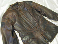 Harley Davidson Motorcycle Leather Jacket Brown factory Distressed Womens M