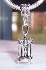 Corkscrew Wine Bottle Opener Dangle Bead Gift for Silver European Charm Bracelet