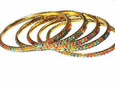 Exquisite Multi-Color Beaded Gold BANGLE BRACELETS 5 PCS SIZE 8 Made in India