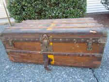 ANTIQUE LOUIS VUITTON FRENCH TRAVEL TRUNK with BRASS LOCKS & HANDLES #113373