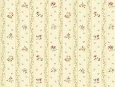 Wallpaper Wild Flower Floral Toss Stripe Trail Pink Purple Peach on Cream