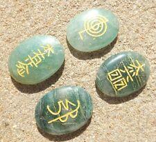 Set 4 Verde Aventurina Cristal Reiki símbolo piedras grabadas ~ de Forma Ovalada
