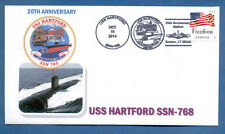 GREYTCOVERS NAVAL COVER USS HARTFORD SSN-768 20TH  ANNIV OF COMMISSIONING