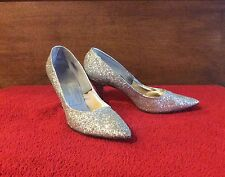 Vintage 1950s 60s Marilyn Bombshell Silver Glitter Pointy Toe High Heel Shoes 7N