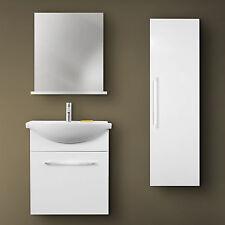 Mobile bagno con lavabo in ceramica colonna e specchiera color bianco lucido