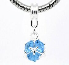 """December Blue Zircon Birthstone"" Dangle Ball Spacer Bead Charm and Bracelet"