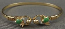 Rare Retro Solid 14K Gold, Jade & Diamond, Double Bee Bangle Estate Bracelet