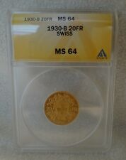 1930-B Swiss 20FR ANACS MS 64 Gold Coin 1930 B Switzerland 20 Francs MS64