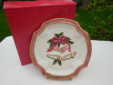 Fitz and Floyd Essentials Holiday Bells Christmas Cookie / Canape Plate 8""