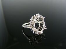 2490  RING SETTING STERLING SILVER, SIZE 5.75, 14X12 MM OVAL STONE