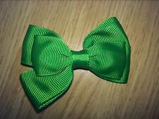 2 X 3 INCH GREEN DOUBLE BOW WITH ALIGATOR CLIP ADDED PERFECT GIFT UK SELLER