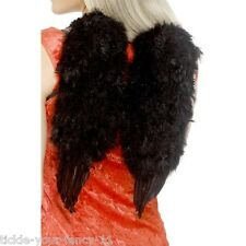 Womens Black Feather Angel Wings Fancy Dress Hen Night Halloween Devil Costume