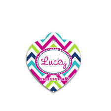 Heart shaped pet tag, funny color chevron for all dogs ,best tags - 036