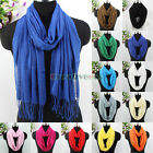 Fashion Women's Solid Color With Long Tassel Soft Cotton Long/Infinity Scarf New