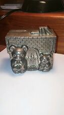 Old Music Box Piggy Bank Two Bear Vintage Coin Metal Japan Japanese Song Animal