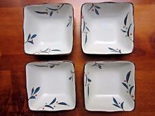 "Collectible Vintage Sq. Oriental Dishes, set of 4 hand painted 4"" square 2"" deep"