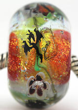 DRAGON'S FIRE GARDEN FOCAL sterling silver core charm glass bead lampwork MWR