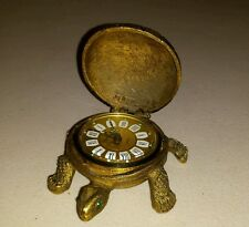 Vintage Brass Gruber West Germany Emerald eyes Turtle Desk Clock west Germany