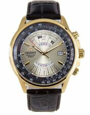 Orient Multi-Year Calendar FEU0700AUH Gold Dial Brown Leather Band Men's Watch