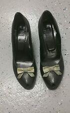 La Femme Publique Black Peeptoe heels with bow vtg 40/ 50s inspired  sz 38.5