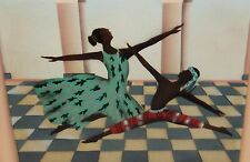EBONY DANCERS ORIGINAL OIL ON CANVAS PAINTING UNSIGNED