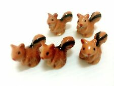 2 PCS Ceramic Brown Squirrel Figurine Animal Handmade Miniature Dollhouse