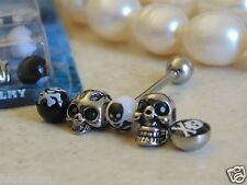 "Bonus Pack 14 Gauge 5/8"" Barbell with 5 Different Styles of ""SKULL"" Tongue Ring."
