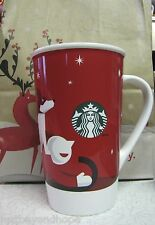 New 2011 Starbucks Coffee Red Christmas Boy Dog Sled Mug Cup 16 oz SKU