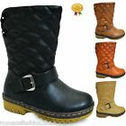 Girls D3X Boys Quilted Fur Lined Thick Sole Mid Calf Boots Children Shoes Size 7