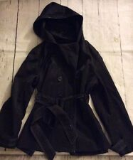 Nine West XL Hooded Black Button Rain Jacket Trench Coat Style Tie Waist