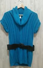 No Boundaries Blue Tunic Sweater With Black Belt Long Top Sweater Cowl Neck