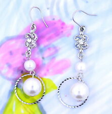 Silver tone flower hoop and pearl chandelier earrings