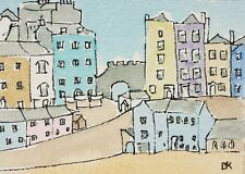 ACEO Tenby Corner Wales Original watercolour pen painting seaside town