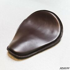 Slim Line Solo Seat in Brown Leather Motorcycle Bobber Ryca Motors