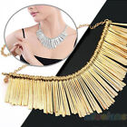 Gold Womens Metal Multilayer Chain Tassels Choker Bib False Collar Necklace