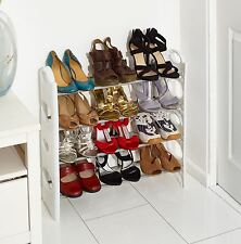 WHITE 4 TIER SHOE RACK/ORGANIZER FOR 12 PAIR SHOES