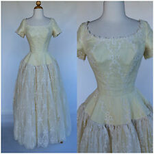 Vintage 50s Ivory Wedding Gown Eyelet Lace Drop Waist Full Skirt Tulle Size XS