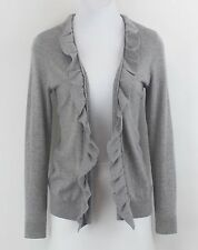 Talbots Sz PS Gray Ruffle Edge LS Cardigan B109