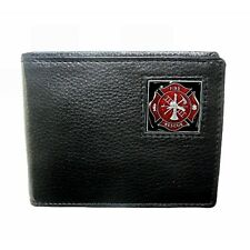 Firefighter Fireman Maltese Cross Leather Bifold Mens Black Wallet Fire Dept