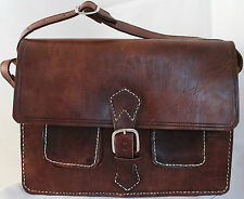 018 VINTAGE STYLE REAL GENUINE QUALITY LEATHER SATCHEL BAG BRIEFCASE BROWN 2