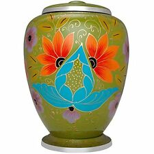 ADULT GREEN CREMATION URNS, LARGE NEW FUNERAL URN FOR HUMAN ASHES flower design