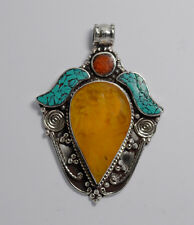 Ethnic Handmade Sterling Silver Pendant Turquoise Tibetan Amber Coral Tribal 2P