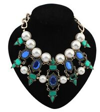 Gold Tone BLUE GREEN CRYSTAL WHITE PEAL Chunky Statement Bib Collar Necklace