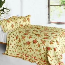 3 PC Beauty of Light Shabby Chic Rose beige green 100% Cotton Queen Quilt Shams
