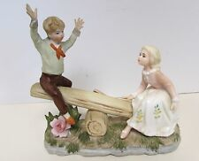 ARDALT LENWILE CHINA NIGHT LIGHT CHILDREN ON TEETER-TOTTER SEE-SAW HAND PAINTED