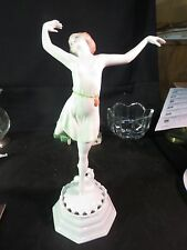 "Rosenthal D Charol Signed Porcelain 12-3/4"" Figurine Art Deco Ballet Dancer"