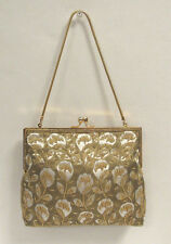 VINTAGE 1950s 60s ATLANTIC ORIGINAL SILK/SATIN FLORAL BEADED HANDBAG CLUTCH
