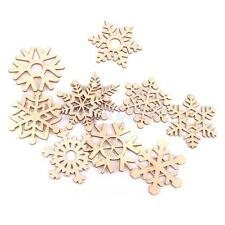 10 Assorted Wood Snowflake Laser Cut Christmas Tree Hanging Decor Ornament
