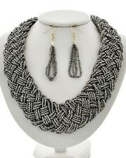 Multi Strand Hematite Color Glass Seed Bead Braided Necklace Earring Set