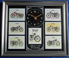 Triumph Classic Motorcycles Model Stunning Collector Cards Wall Clock #2